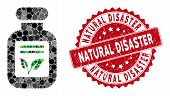 Mosaic Natural Drugs And Rubber Stamp Seal With Natural Disaster Phrase. Mosaic Vector Is Designed W poster