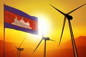 Cambodia Wind Energy, Alternative Energy Environment Concept With Turbines And Flag On Sunset - Alte poster