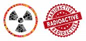 Mosaic Radiation Danger And Distressed Stamp Watermark With Radioactive Phrase. Mosaic Vector Is Com poster