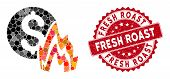 Collage Fire Disaster Price And Grunge Stamp Seal With Fresh Roast Phrase. Mosaic Vector Is Formed W poster