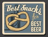 Beer And Pretzel Snack, Oktoberfest Beer Festival And Brewery Pub And Bar Vintage Retro Poster. Vect poster