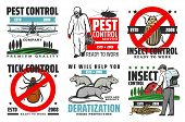 Pest Control Service, Professional Extermination, Home Disinsection And Domestic Disinfection. Vecto poster