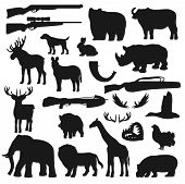 Hunter Ammo Equipment, Hunt Wild Animals And Birds Silhouette Icons. Vector Hunting Season Deer, Elk poster