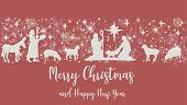 Birth Of Christ Scene Horizontal Banner On Red Background. Merry Christmas Card With Nightly Christm poster