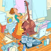 A Female Musician Plays The Double Bass, A Housewife Is Distracted From Household Chores. Comic Cart poster