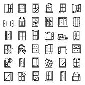 Window Installation Icons Set. Outline Set Of Window Installation Vector Icons For Web Design Isolat poster