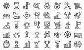 Goal Achievement Icons Set. Outline Set Of Goal Achievement Vector Icons For Web Design Isolated On  poster