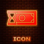Glowing Neon Fast Payments Icon Isolated On Brick Wall Background. Fast Money Transfer Payment. Fina poster