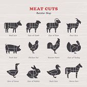 Diagram Guide For Cutting Meat In Vintage Style. Vintage Restaurant Meat Menu Template. American Sch poster