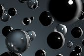 Close Up Of Multicolored Transparent Glossy Glass Balls As Abstract Background. 3d Rendering. poster
