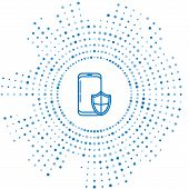 Blue Line Smartphone, Mobile Phone With Security Shield Icon Isolated On White Background. Security, poster