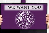 Handwriting Text We Want You. Concept Meaning Company Wants To Hire Vacancy Looking For Talents Job  poster