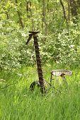 stock photo of grass-cutter  - Antique Grass Cutter abandoned in a field of grass - JPG