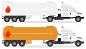 Fuel Truck, Realistic Fuel Truck With Shadow Isolated On White. Vector Illustration Of Two Fuel Truc poster