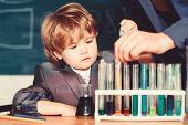 Genius Pupil. Education Concept. Talented Scientist. Boy Test Tubes Liquids Chemistry. Chemical Anal poster
