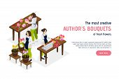 Creative Florist Isometric Landing Page With Advertising Of Service Offering Authors Bouquets Of Fre poster