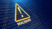 Detecting malware program concept - binary code and malware warning. 3d rendering poster
