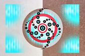 Geometric Psychedelic Abstract Two-part Circles Pattern, Hypnotic Trance State poster