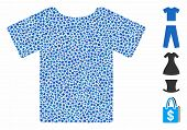 T-shirt Icon Mosaic Of Ragged Items In Different Sizes And Color Tinges, Based On T-shirt Icon. Vect poster
