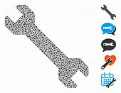 Wrench Icon Mosaic Of Bumpy Items In Variable Sizes And Color Tints, Based On Wrench Icon. Vector Ra poster