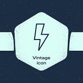 Grunge Line Lightning Bolt Icon Isolated On Blue Background. Flash Sign. Charge Flash Icon. Thunder  poster