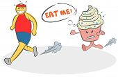 Funny Cartoon Evil Cake Running After The Runner And Asks Him To Eat Himself. Concept Of Motivation, poster