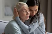 Mom Share Problems Adult Daughter Hugs Soothes Her Showing Compassion poster