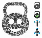 Smiled Ton Weight Icon Mosaic Of Joggly Elements In Different Sizes And Color Tones, Based On Smiled poster