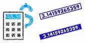 Mosaic Business Calculator Pictogram And Rectangular Rubber Prints. Flat Vector Business Calculator  poster