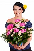 Florist Holding Beautiful Roses Arrangement