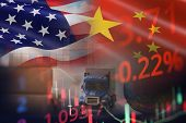 Usa And China Trade War Economy Recession Conflict Tax Business Finance To Worldwide / United States poster