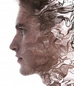 Paintography. Double exposure profile portrait of a man with strong features combined with handmade  poster