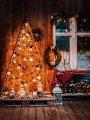 Winter Wooden Exterior Night Veranda Country House With Christmas Decorations Rustic Vintage Style W poster
