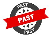 Past Sign. Past Black-red Round Ribbon Sticker poster