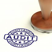 stock photo of financial audit  - Audit Stamp Shows Financial Accounting Examination Seal - JPG