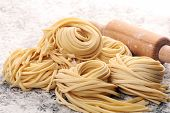 Closeup Of Raw Homemade Pasta. Fresh Italian Traditional Raw Fresh Pasta poster