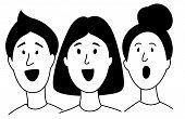 Music Lessons Students Children Choir Line Icon Clipart Doodles. poster