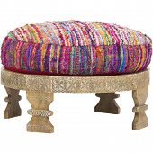 Barnwell Ottoman, Polyester Filledslight Variations In Color, Layla Ottoman, Peacock, Handmade Silk poster