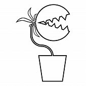 Carnivorous Plant Flytrap Monster With Teeths In Pot Icon Outline Black Color Vector Illustration Fl poster