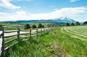 stock photo of colorado high country  - Cutting though the Carbondale countryside the quiet road ambles past fresh cut pastures as it climbs toward the peaks of Mt - JPG