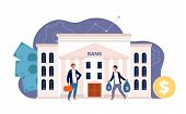 Bank With Characters. Business Finance Building And People Investing Their Money Bank Facade Vector  poster