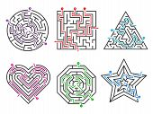 Game Maze. Labyrinth Collections Various Shapes With Many Entrance Gate Vector Set. Maze Game Comple poster