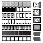 Movie Tape. 35mm Photo Strip Film Camera Frames Picture Vector Collection. Cinema Reel Frame Templat poster