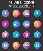 Download Icon Set. Download Web Icons On Round Trendy Gradients poster