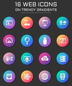 Hosting Provider Icon Set. Hosting Provider Web Icons On Round Trendy Gradients poster