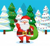 Santa Claus Standing With Green Sack Of Presents For Children In Forest. Christmas Time In December, poster