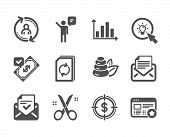 Set Of Business Icons, Such As Favorite, Approved Mail, Mail Correspondence, Spa Stones, Diagram Gra poster