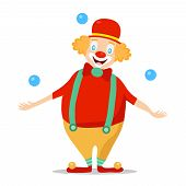 Clown, Clown In A Wig And Hat Juggles With Blue Balls. Cartoon Illustration Of poster