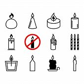 Flat Icons Christmas Candles Isolated On White Background. Icons Candles Set. Candles Collection. Si poster