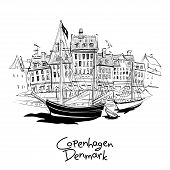 Vector Black And White Sketch Of Nyhavn With Facades Of Old Houses And Old Ships In The Old Town Of  poster